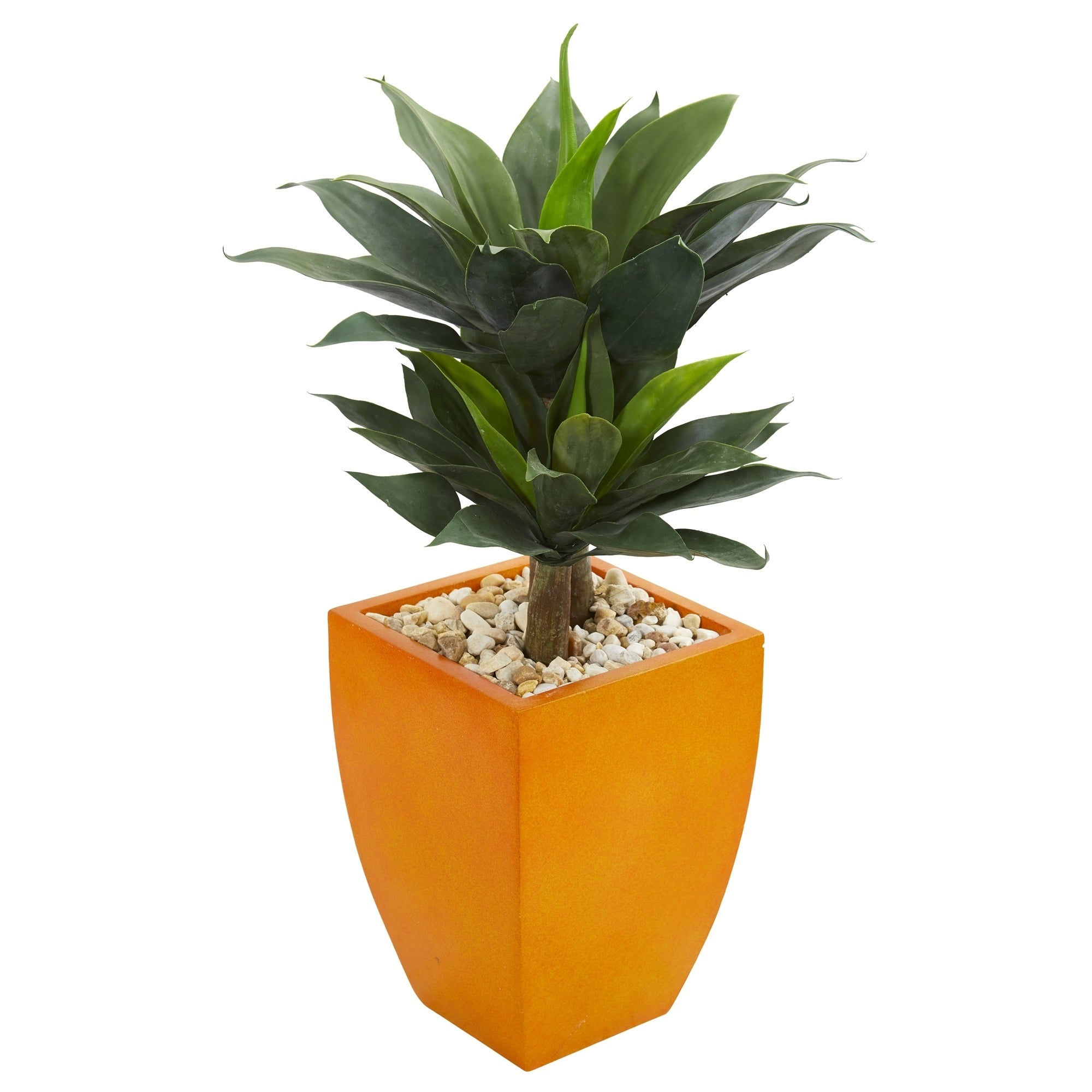 3 Double Agave Succulent Artificial Plant in Orange Planter