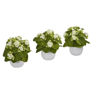 "8"" Kalanchoe Artificial Plant in White Vase (Set of 3)"