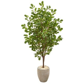 "69"" Oak Artificial Tree in Sand Colored Planter"