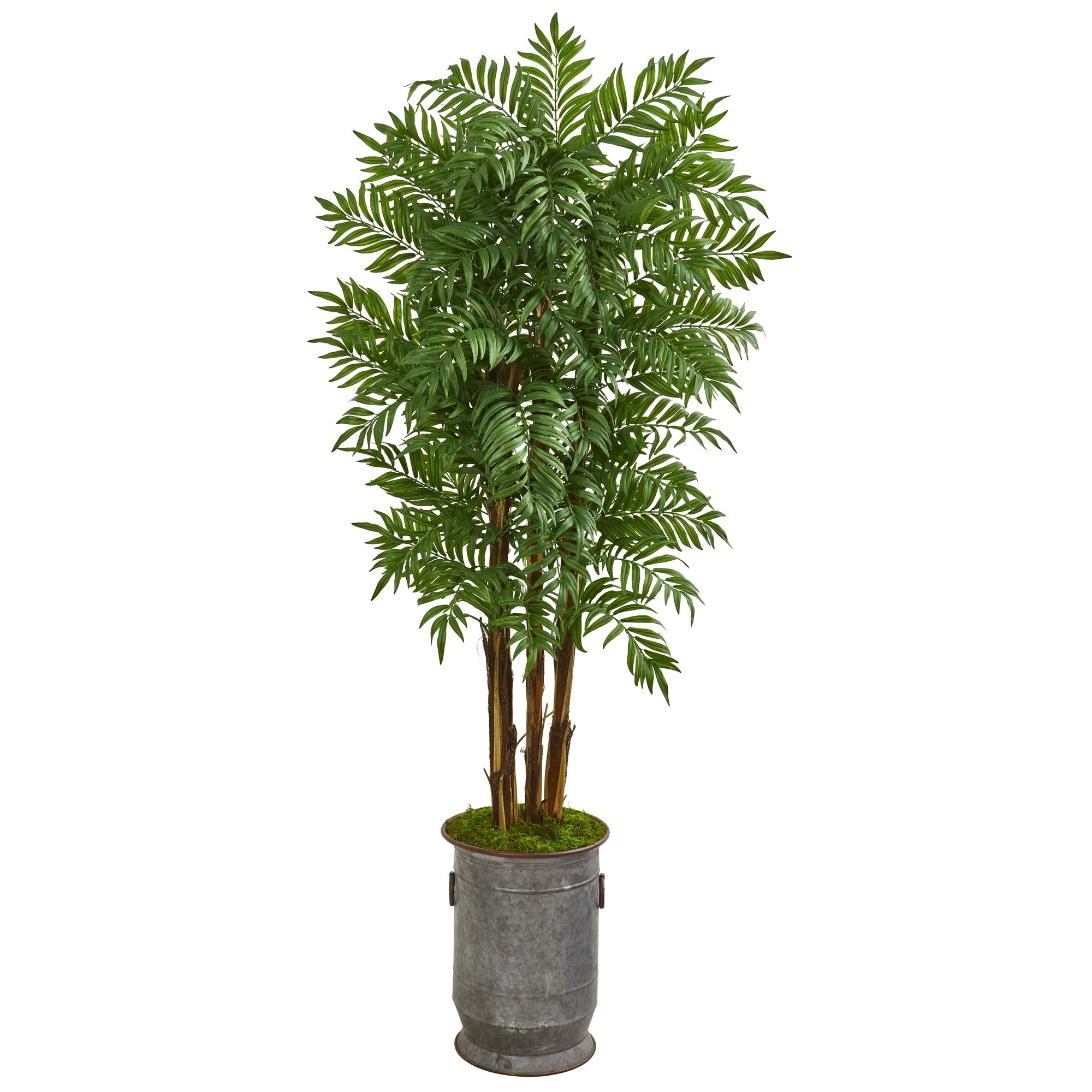 76 Parlour Artificial Palm Tree in Copper Trimmed Metal Planter