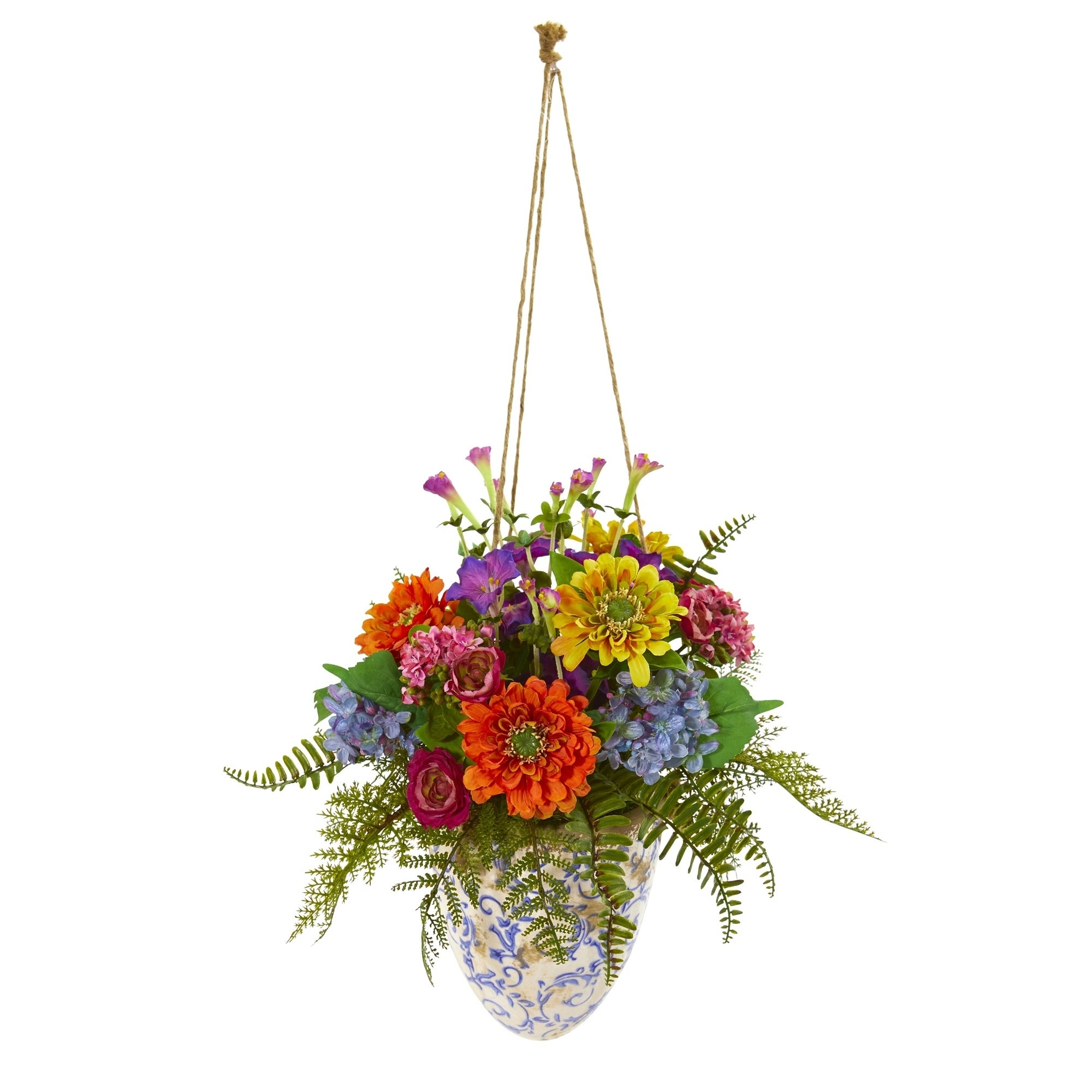 29 Mixed Flowers Artificial Plant in Hanging Vase