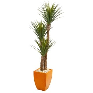 "69"" Yucca Artificial Tree in Orange Planter"