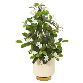"""26"""" Stephanotis Artificial Plant in White Designer Bowl"""