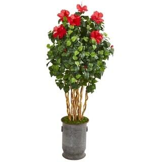 "67"" Hibiscus Artificial Tree in Decorative Planter"
