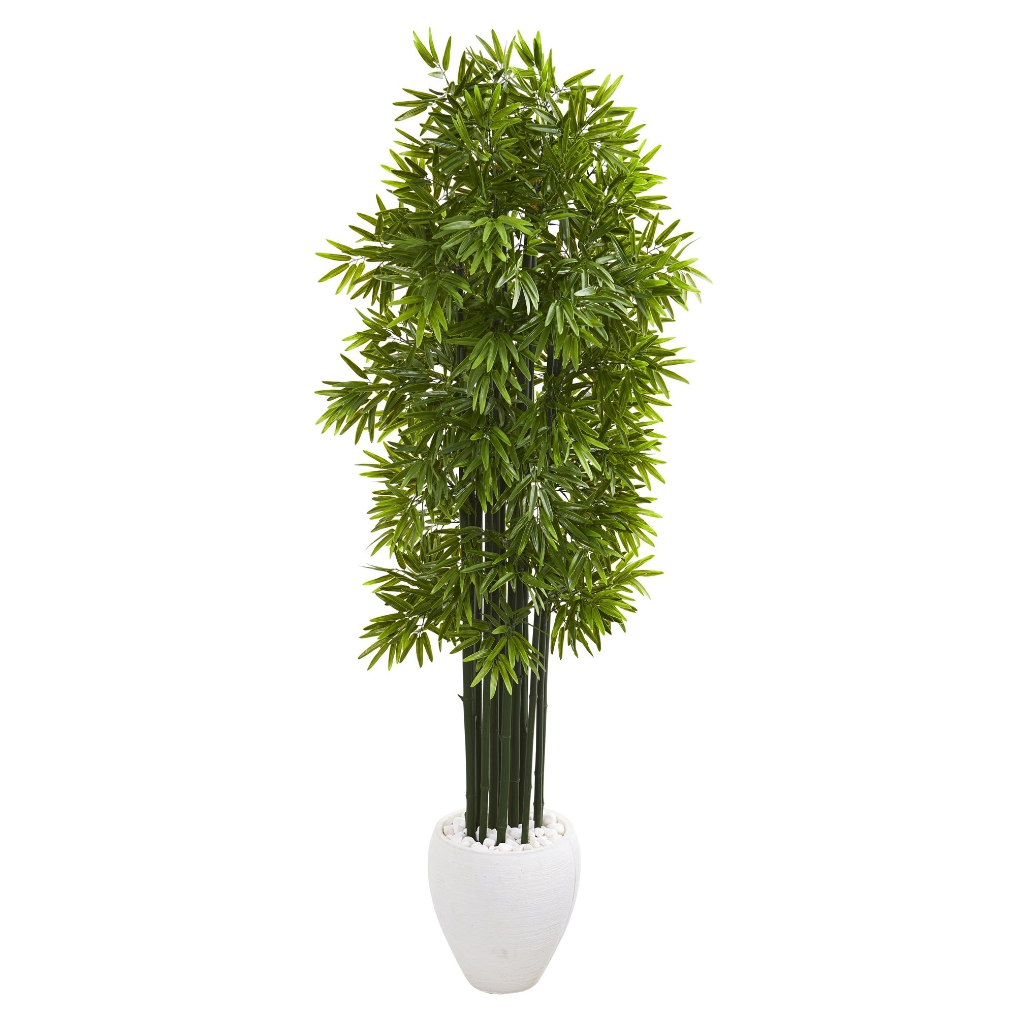 6 Bamboo Artificial Tree with Green Trunks in White Planter UV Resistant (Indoor/Outdoor)