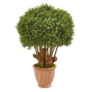 "39"" Boxwood Artificial Topiary Tree in Terracotta Planter (Indoor/Outdoor)"