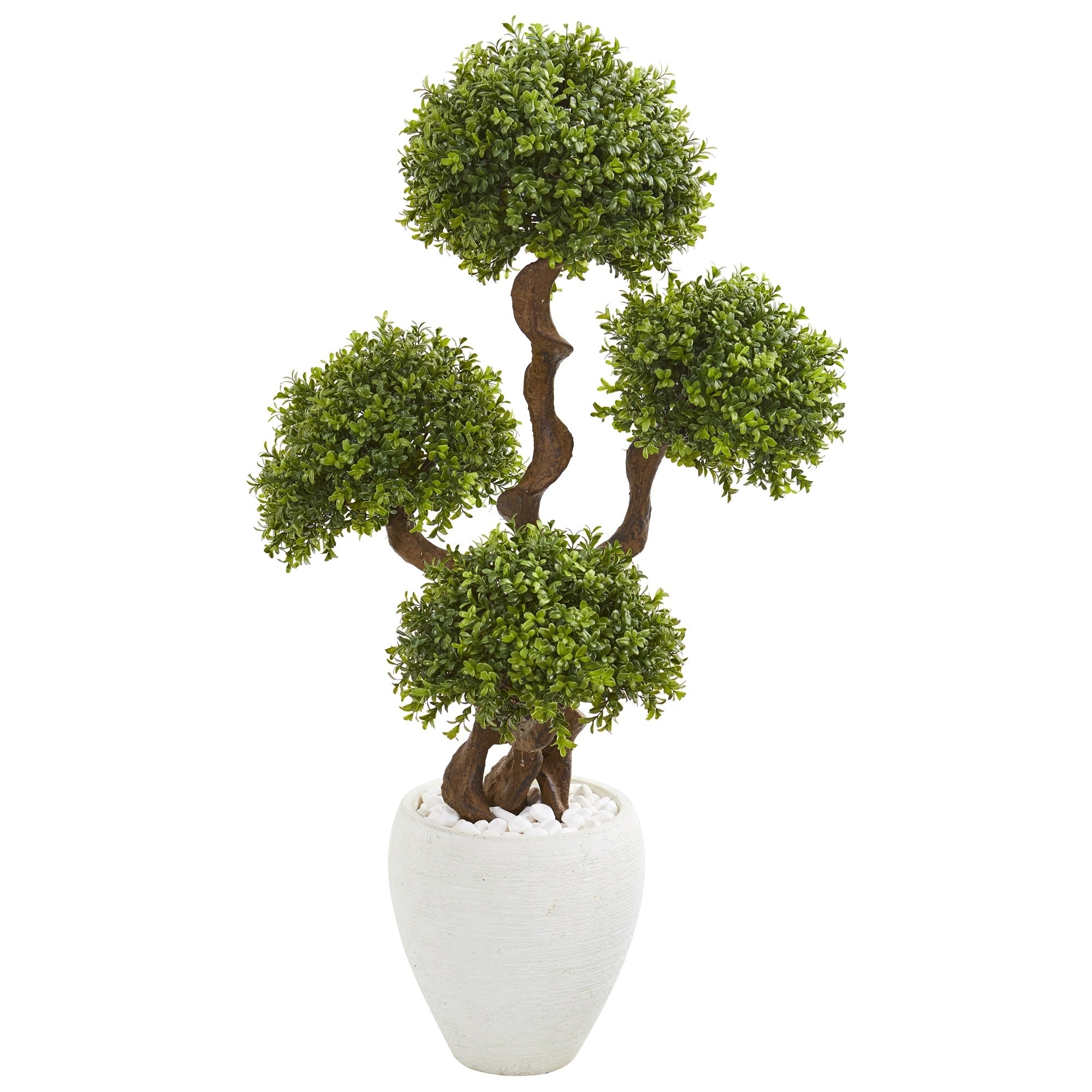 4 Four Ball Boxwood Artificial Topiary Tree in White Planter