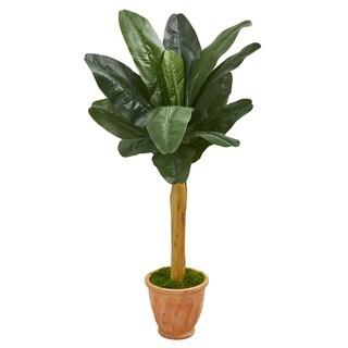 "57"" Banana Artificial Tree in Terra Cotta Planter"