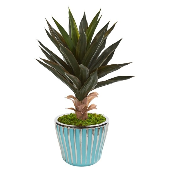 """21"""" Agave Artificial Plant in a Turquoise Planter with Silver Trimming"""