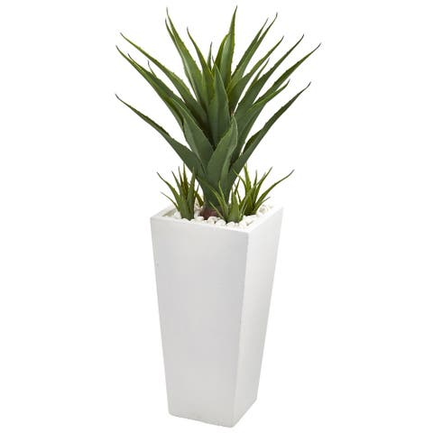 40-inch Artificial Spiky Agave Plant in White Planter