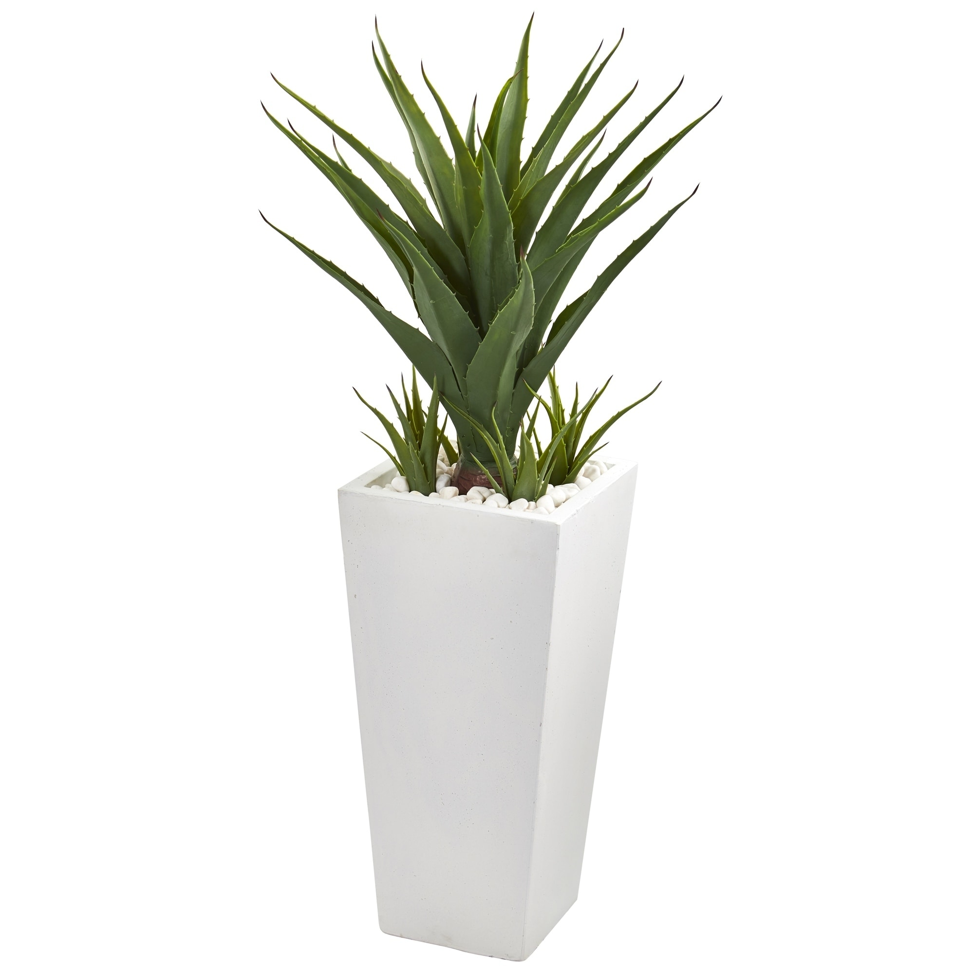 40 Spiky Agave Artificial Plant in White Planter