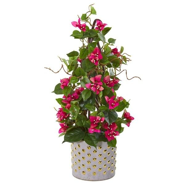"25"" Bougainvillea Artificial Climbing Plant in Designer Vase"