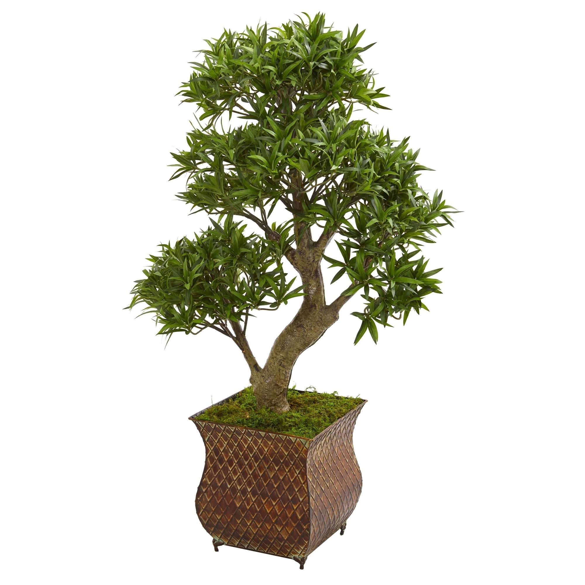 40 Podocarpus Artificial Bonsai Tree in Metal Planter