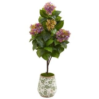 """50"""" Hydrangea Artificial Plant in Decorative Planter"""