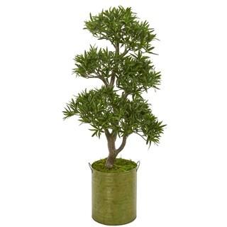 "41"" Bonsai Styled Podocarpus Artificial Tree in Metal Planter"