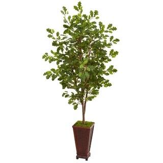 """74"""" Oak Artificial Tree in Decorative Planter"""