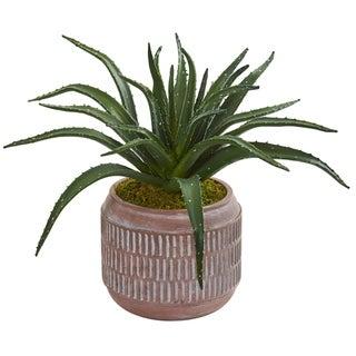 """14"""" Aloe Succulent Artificial Plant in Decorative Planter"""
