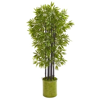 "57"" Bamboo Artificial Tree with Black Trunks in Green Planter UV Resistant (Indoor/Outdoor)"