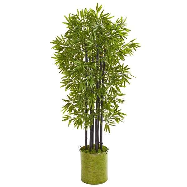 """57"""" Bamboo Artificial Tree with Black Trunks in Green Planter UV Resistant (Indoor/Outdoor)"""