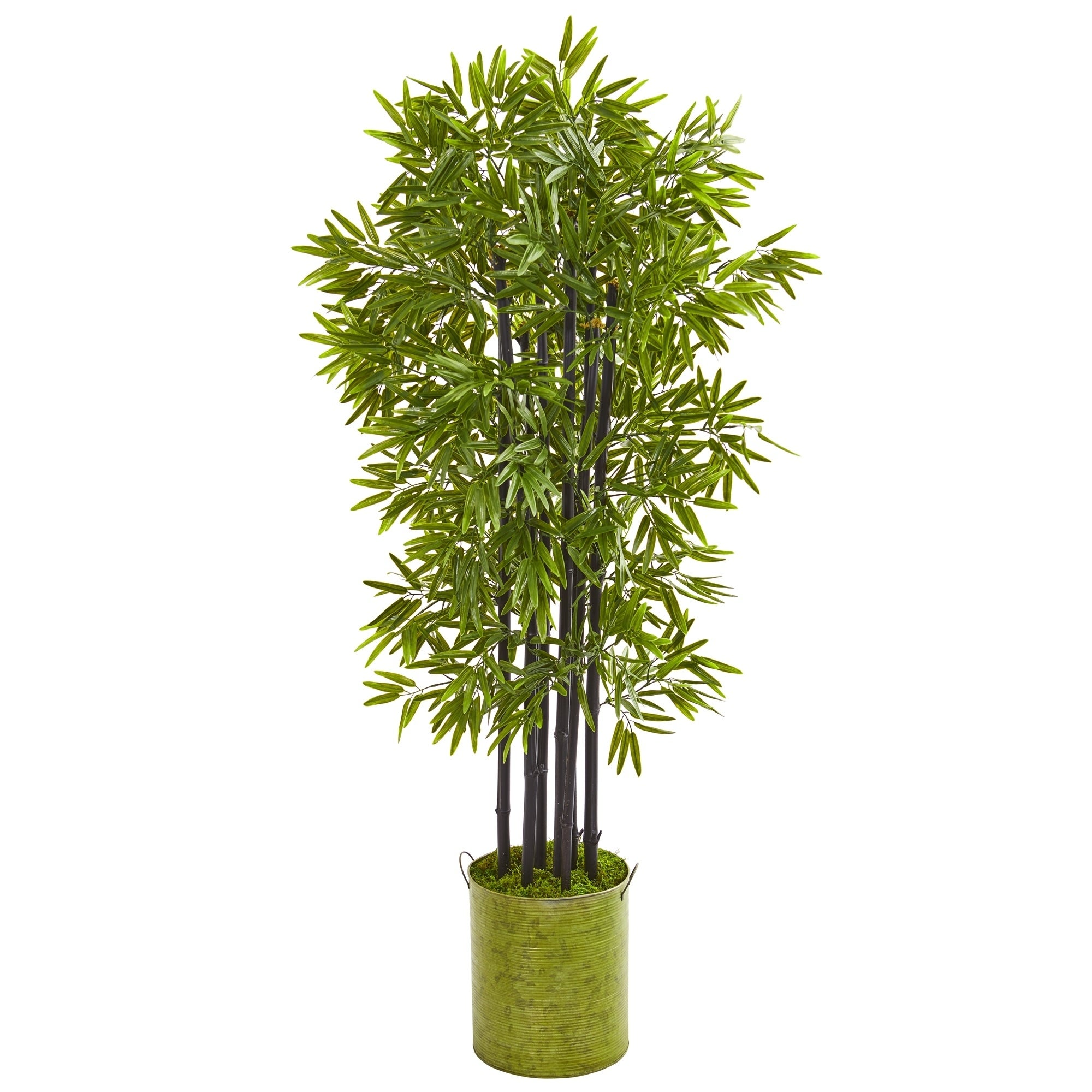 57 Bamboo Artificial Tree with Black Trunks in Green Planter UV Resistant (Indoor/Outdoor)