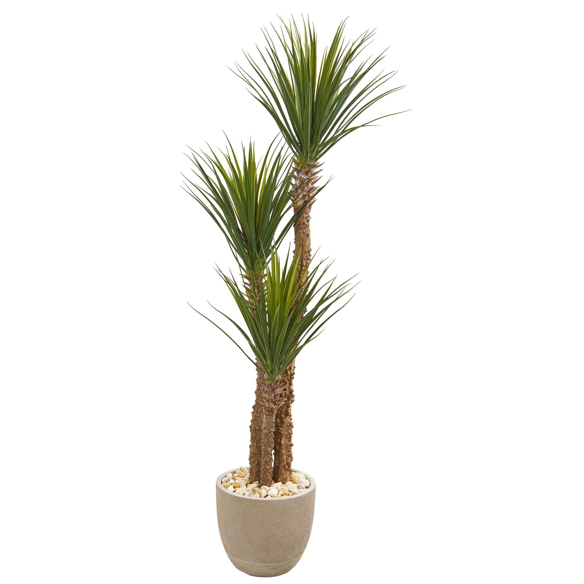 63 Yucca Artificial Tree in Sandstone Planter