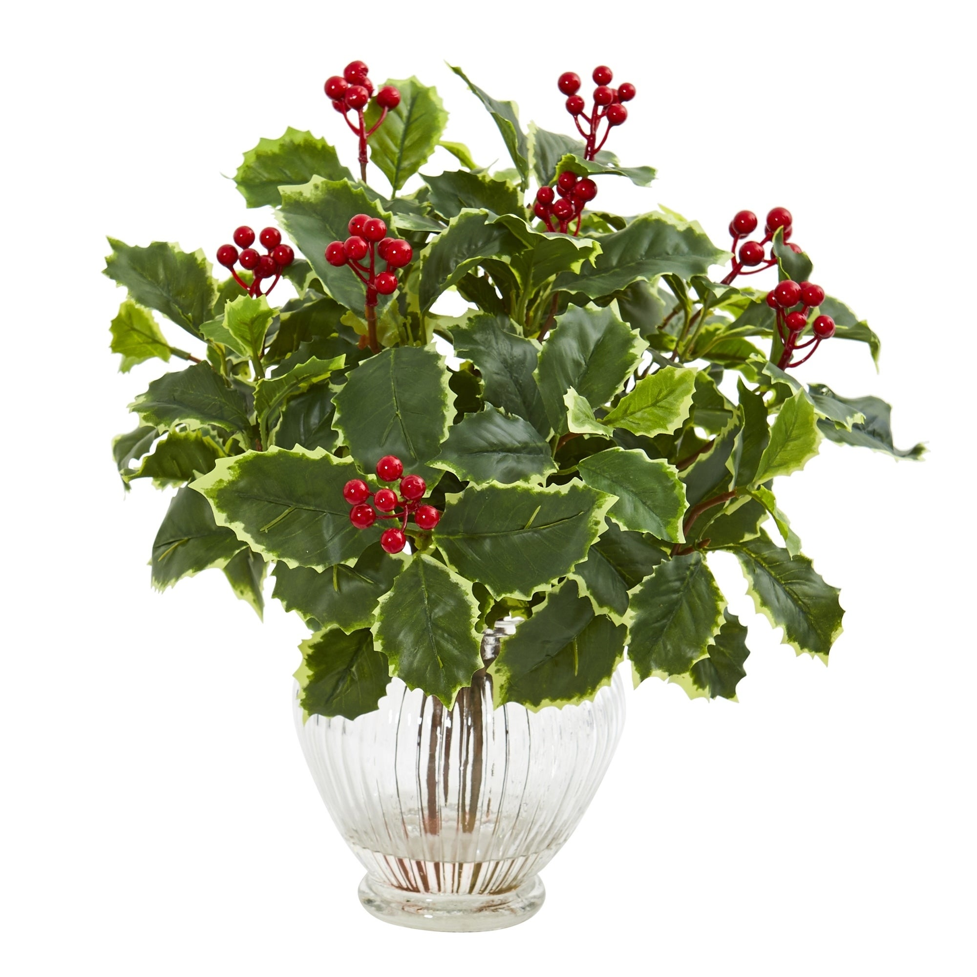 15 Variegated Holly Leaf Artificial Plant in Vase (Real Touch)