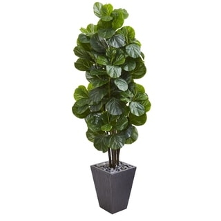 6' Fiddle Leaf Fig Artificial Tree in Slate Planter
