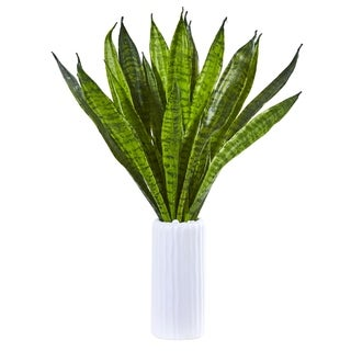 "22"" Sansevieria Artificial Plant in White Vase"