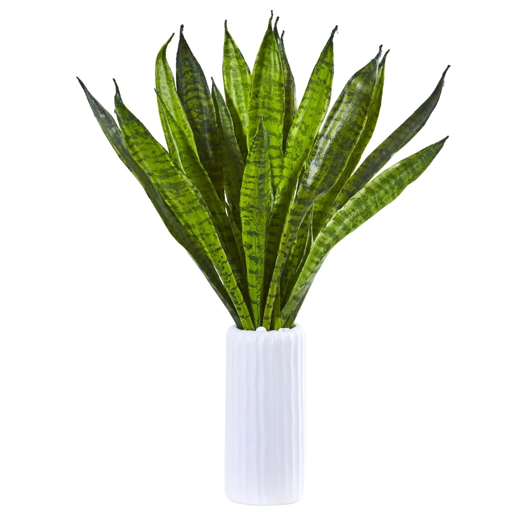 22 Sansevieria Artificial Plant in White Vase