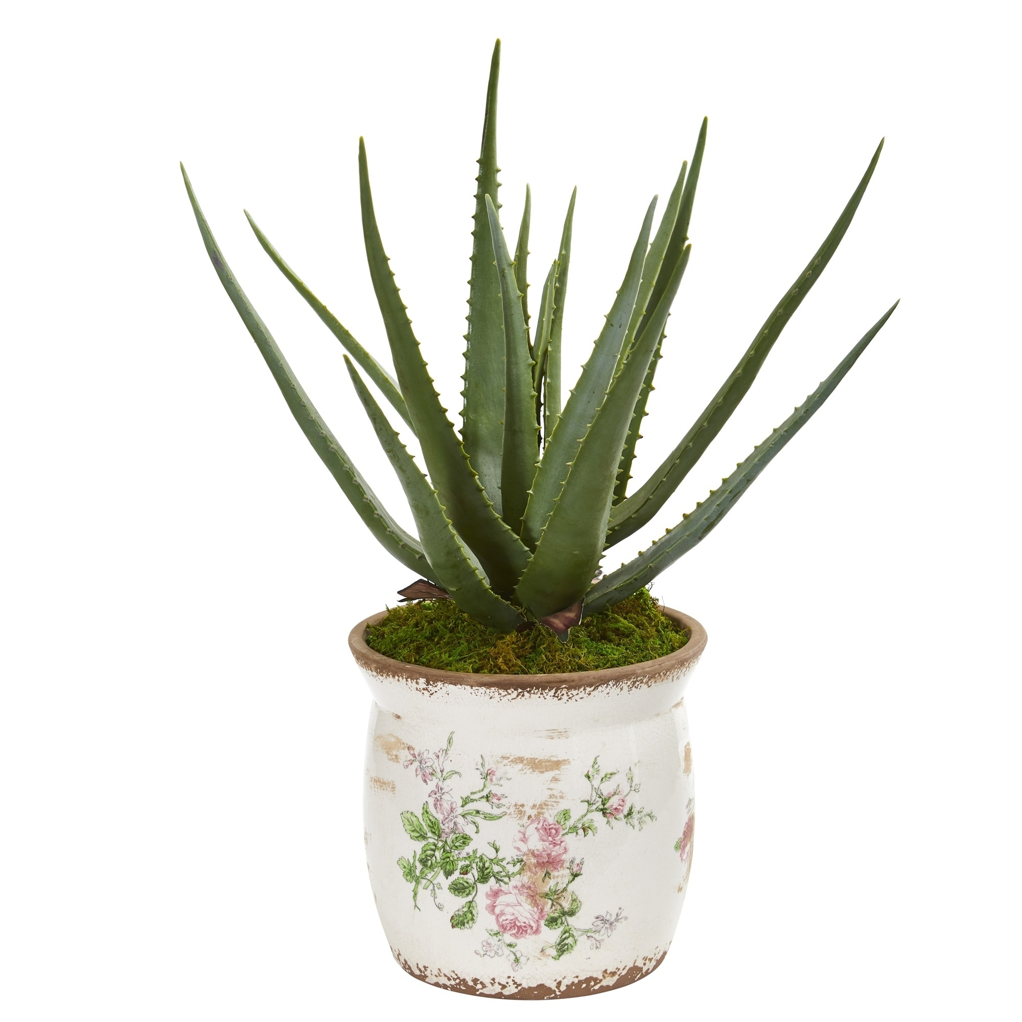 Nearly Natural 20-inch Aloe Artificial Plant in Floral Design Planter