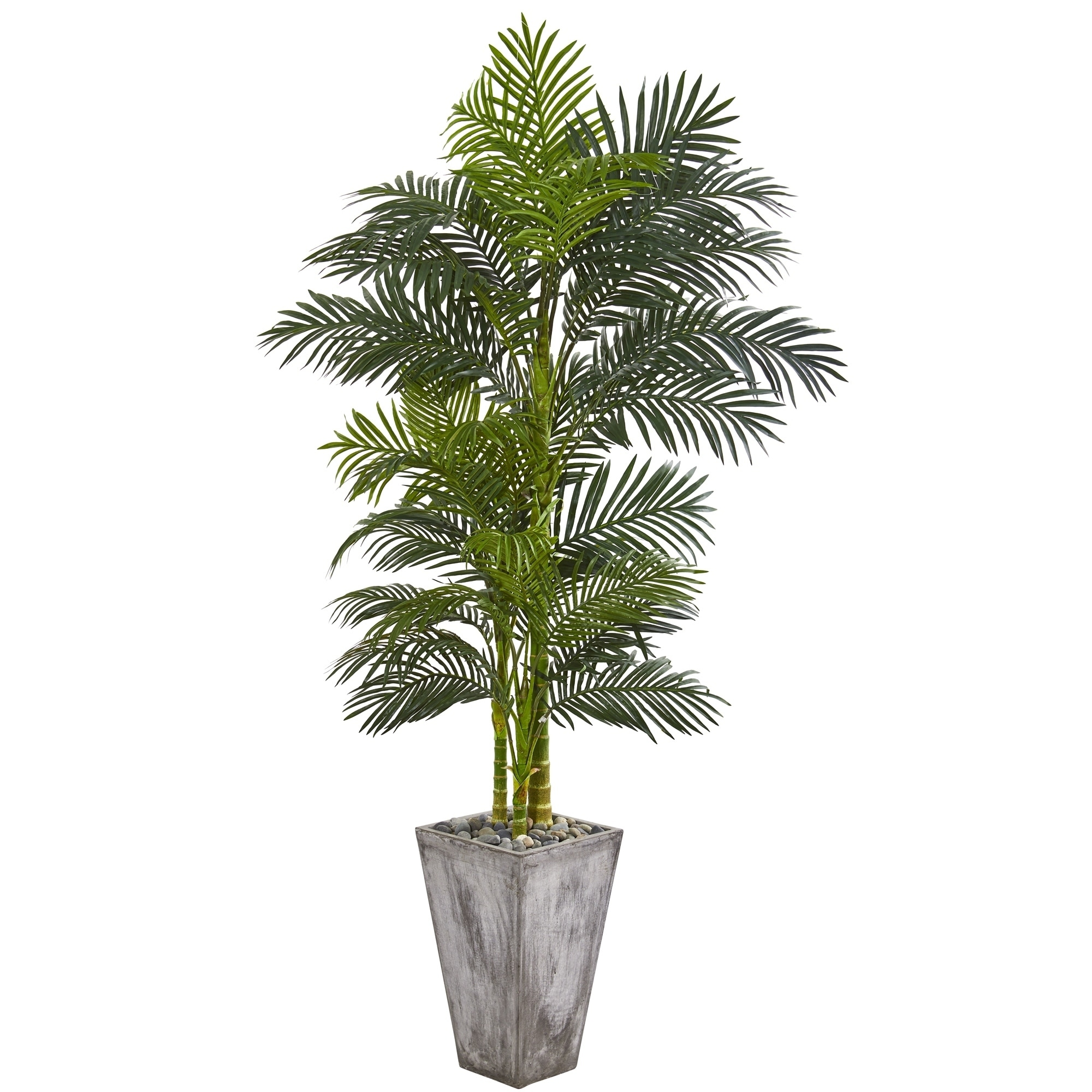 7 Golden Cane Artificial Palm Tree in Cement Planter