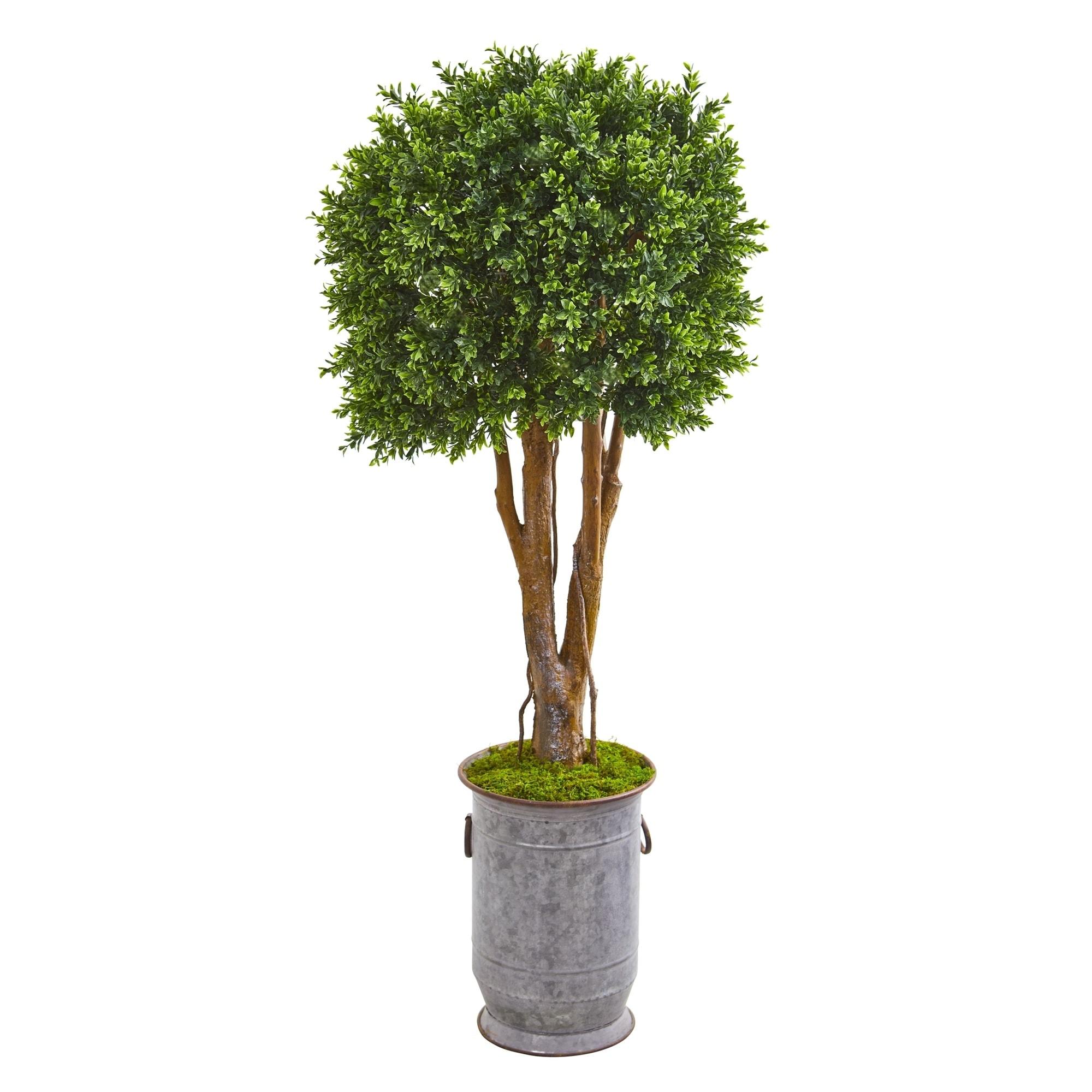 55 Boxwood Artificial Topiary Tree in Planter UV Resistant (Indoor/Outdoor)