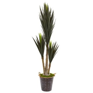 "70"" Yucca Artificial Plant in Metal Planter"
