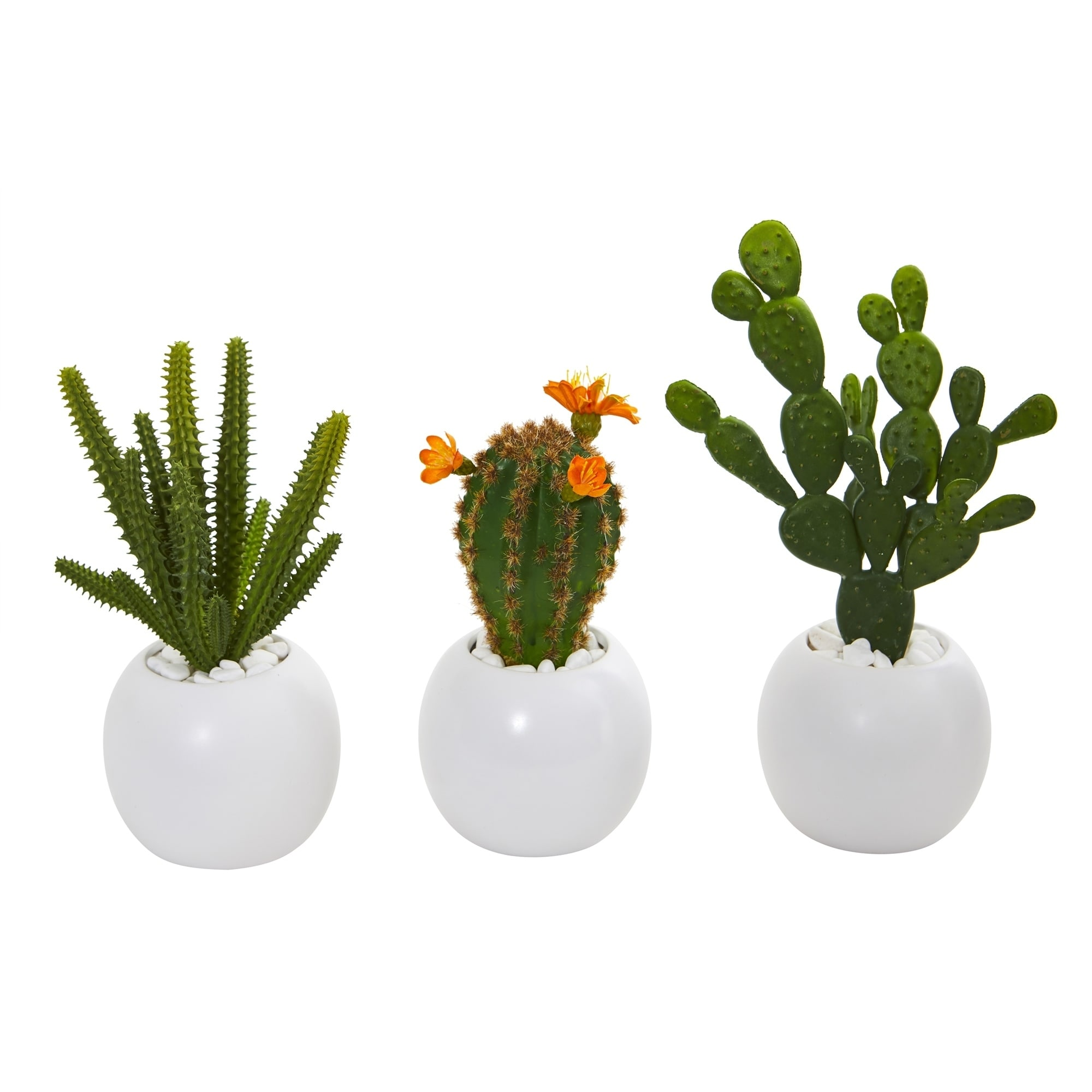 10 Mix Succulent Artificial Plant in White Planter (Set of 3)