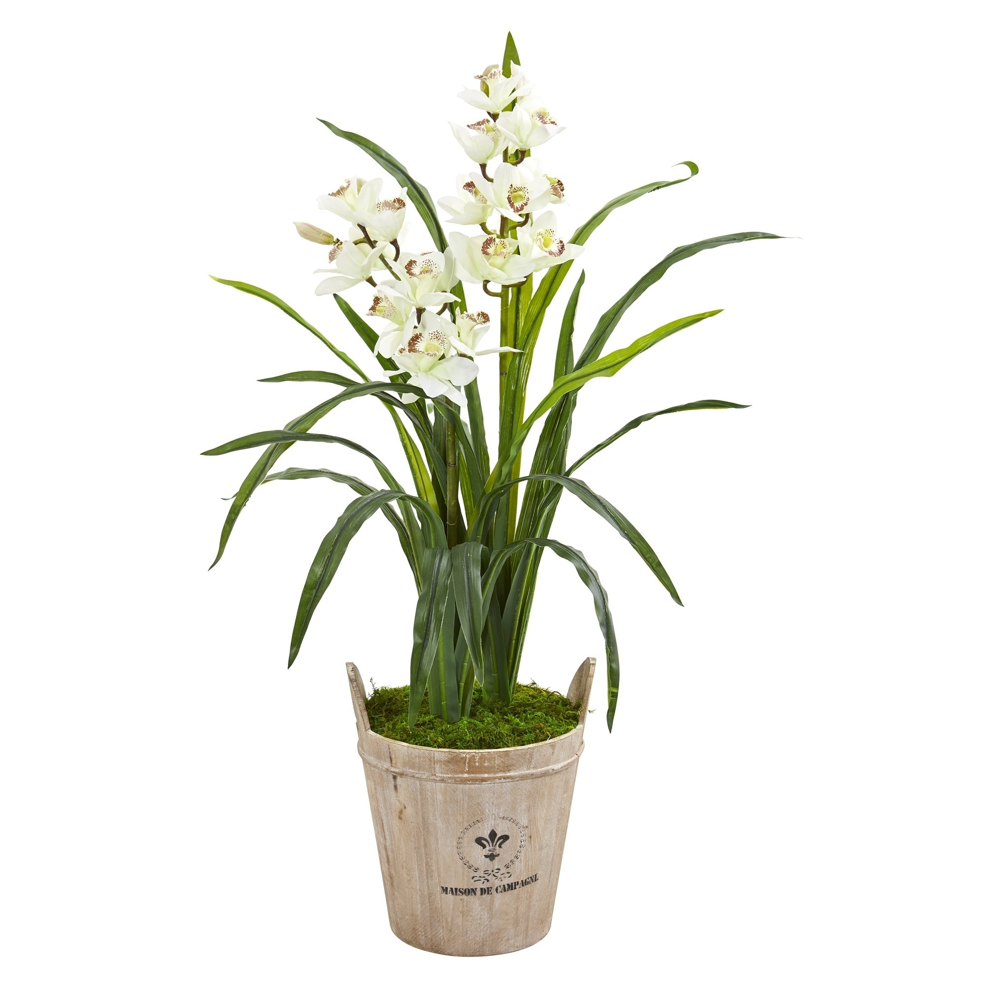 Nearly Natural 3.5 Cymbidium Orchid Artificial Plant in farmhouse Planter