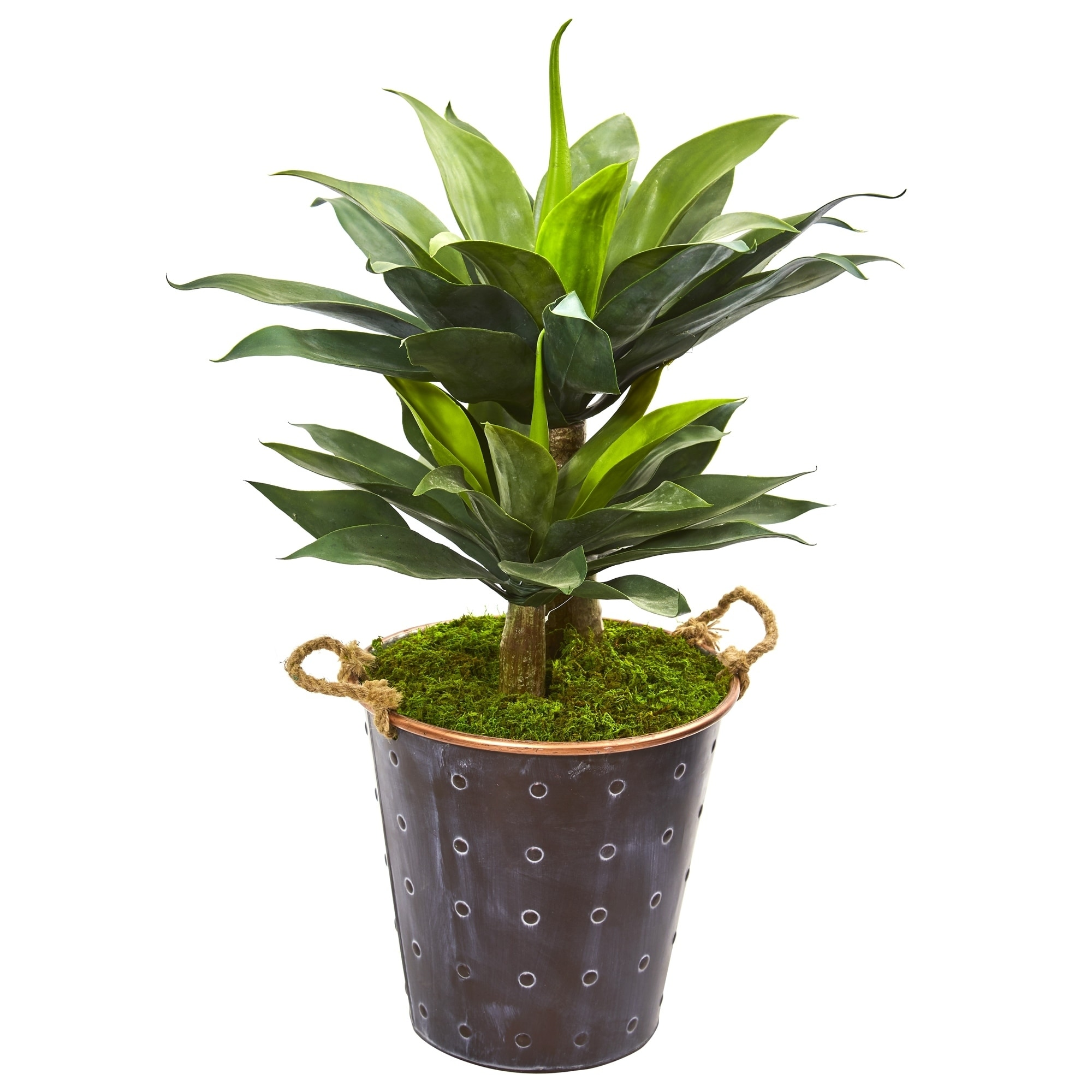 34 Double Agave Succulent Artificial Plant in Metal Planter