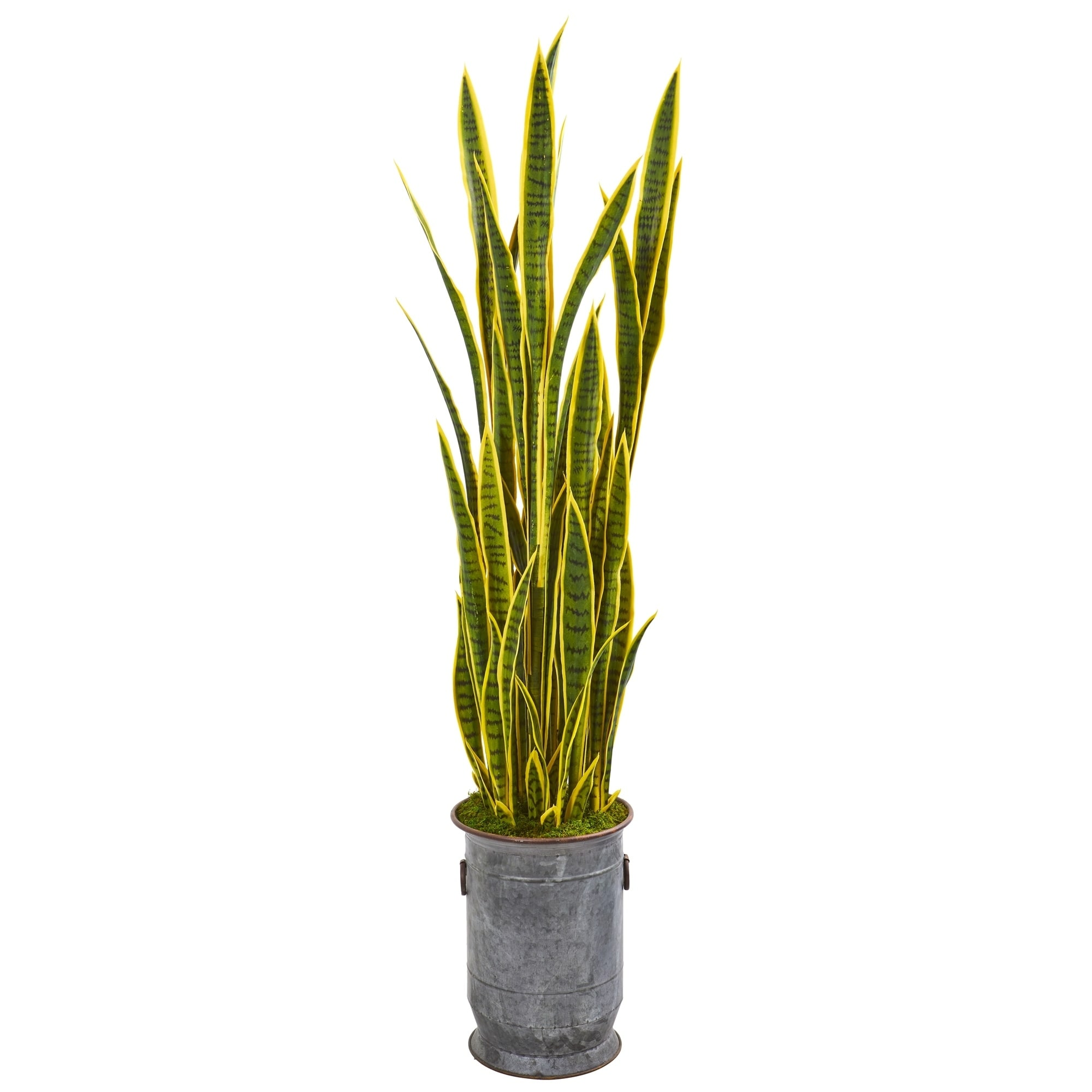64 Sansevieria Artificial Plant in Metal Planter with Copper Trimming