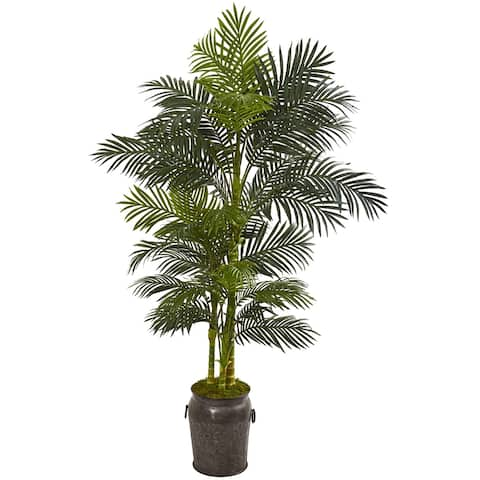 7' Golden Cane Artificial Palm Tree in Decorative Planter