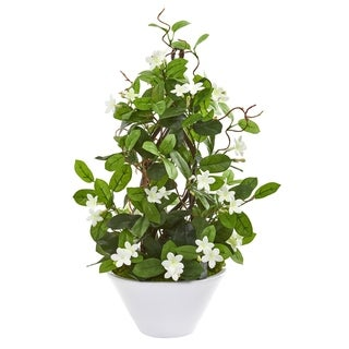 "24"" Stephanotis Artificial Climbing Plant in White Planter"