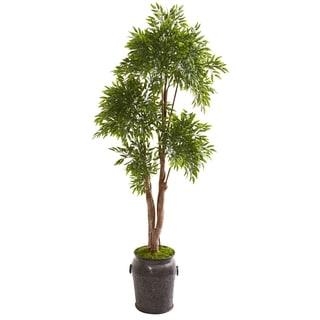 """82"""" Ruscus Artificial Tree in Planter UV Resistant (Indoor/Outdoor)"""