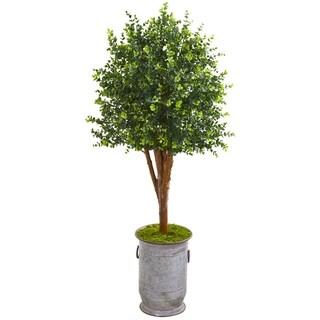 """57"""" Eucalyptus Artificial Tree in Metal Planter UV Resistant (Indoor/Outdoor)"""