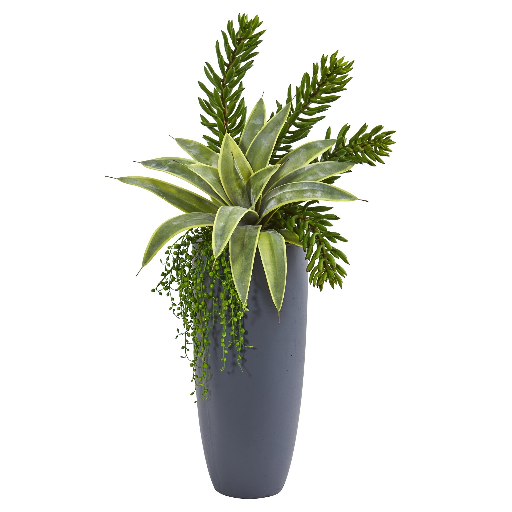 33 Sanseveria and Succulent Artificial Plant in Gray Planter