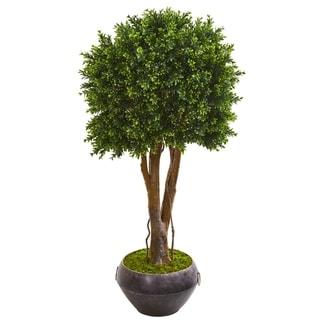 "47"" Boxwood Artificial Topiary Tree in Metal Bowl UV Resistant (Indoor/Outdoor)"