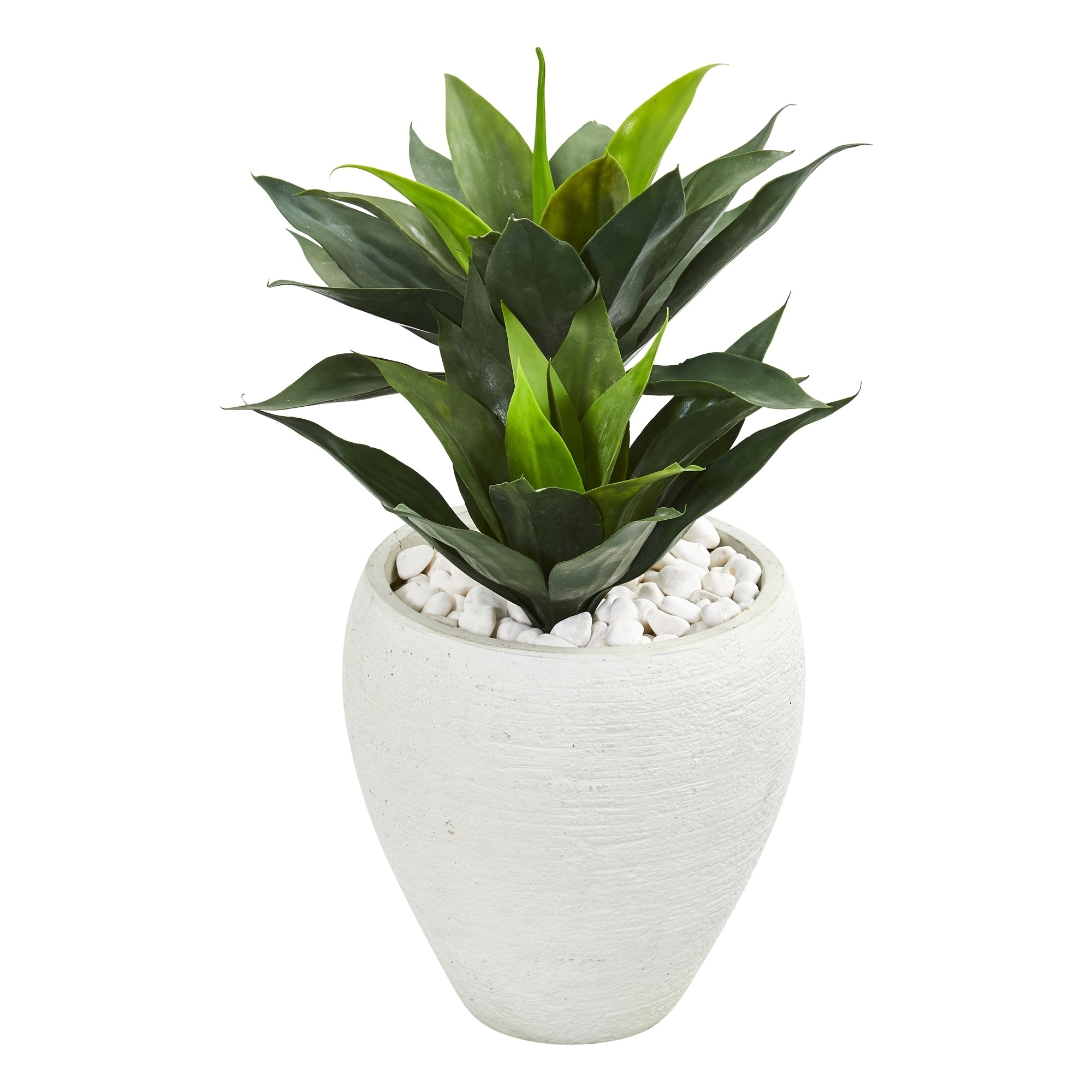 26 Double Agave Artificial Plant in White Planter
