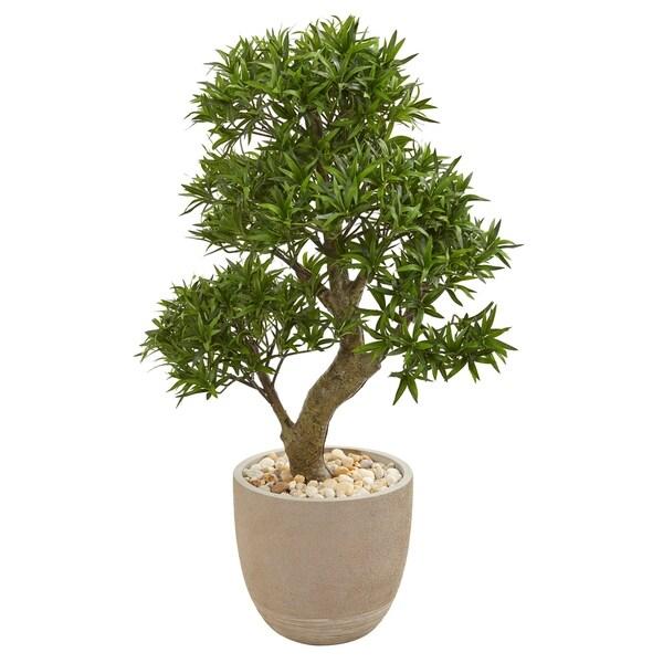 "40"" Podocarpus Artificial Bonsai Tree in Sandstone Planter"