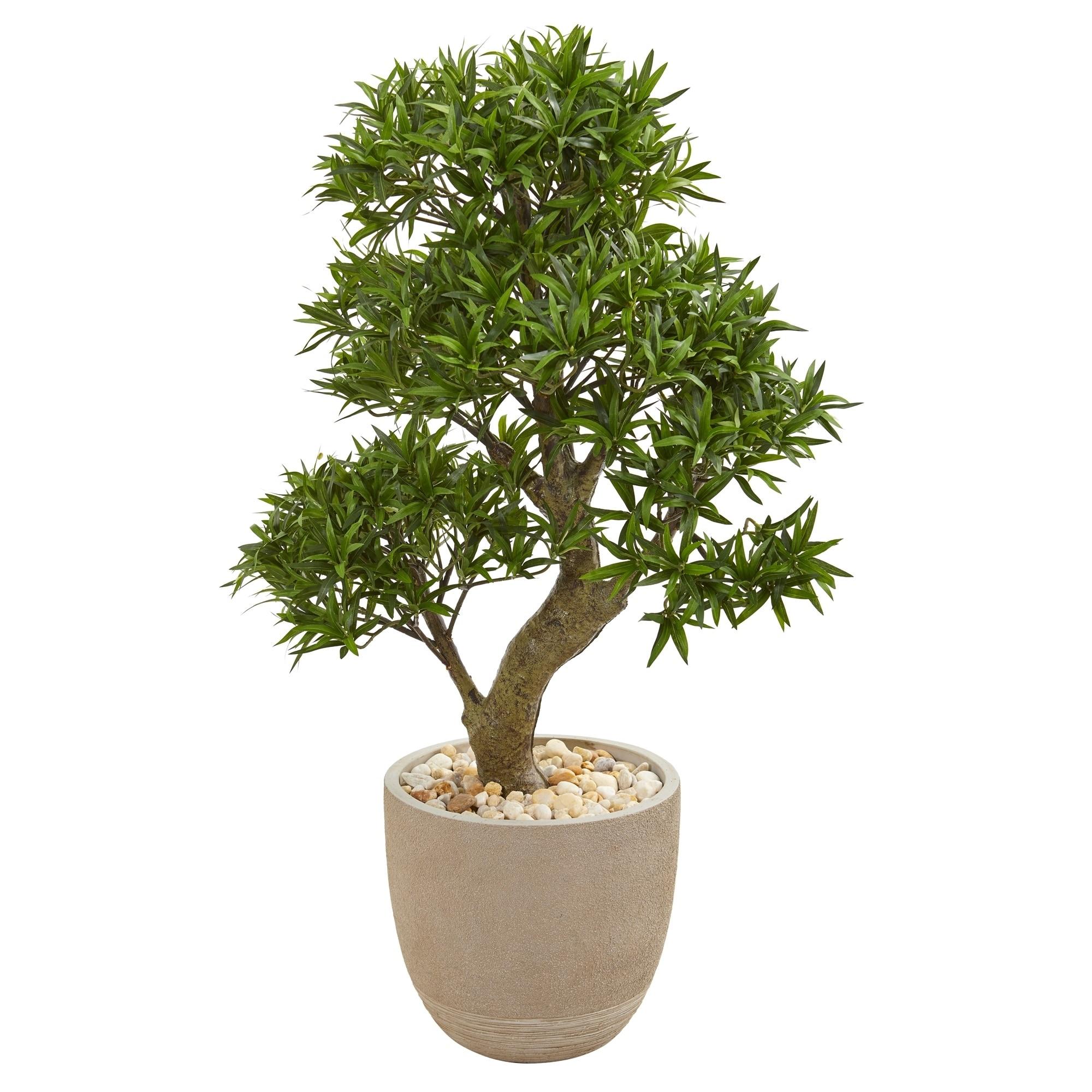 40 Podocarpus Artificial Bonsai Tree in Sandstone Planter