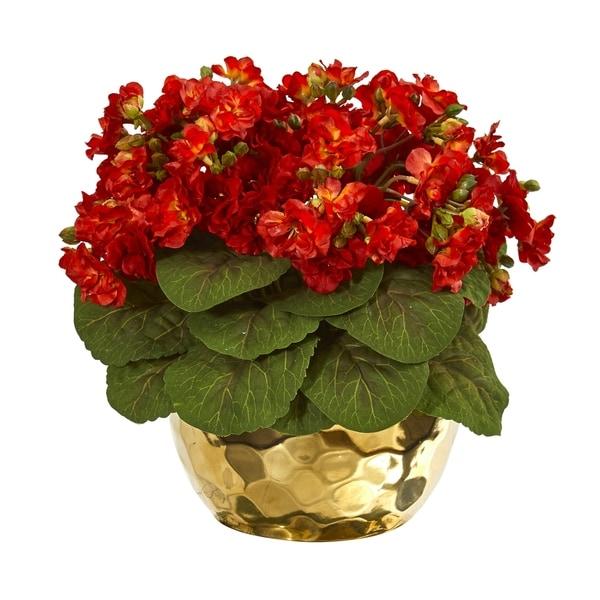 Violet Artificial Plant in Gold Vase