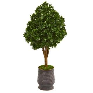 """49"""" Tea Leaf Artificial Tree in Metal Planter UV Resistant (Indoor/Outdoor)"""