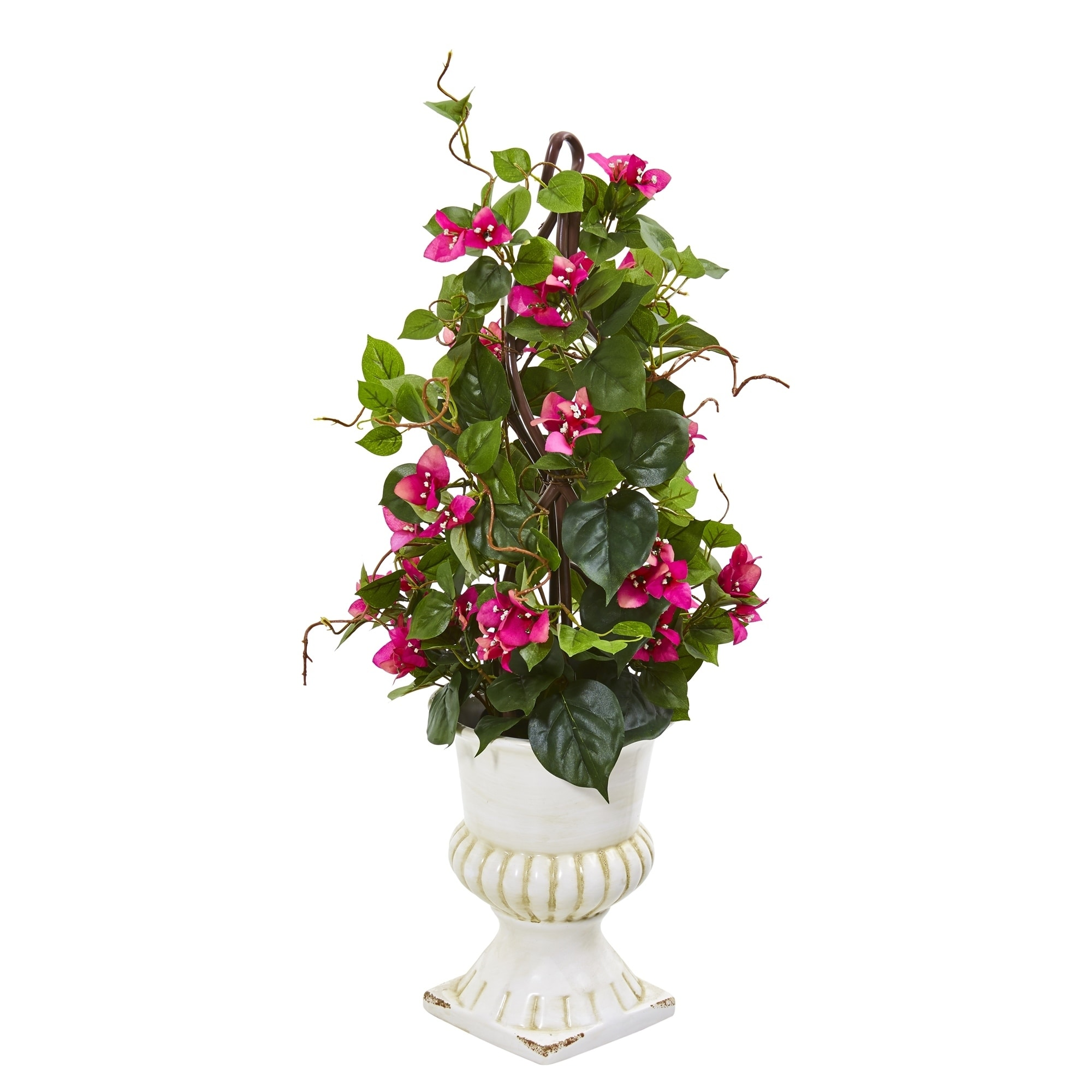 29 Bougainvillea Artificial Climbing Plant in White Urn