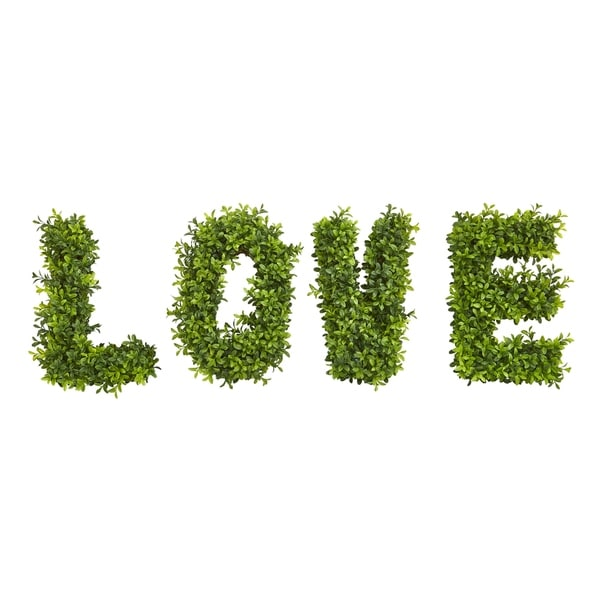 """""""LOVE"""" Boxwood Artificial Wall Decoration (Indoor/Outdoor)"""